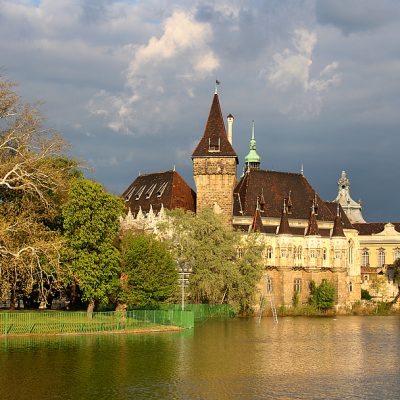 Budapest Vajdahunyad Castle in City Park with stormy clouds
